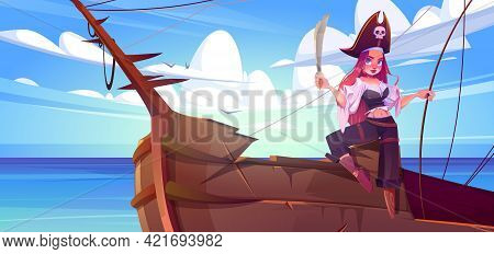 Girl Pirate With Sword On Ship Deck. Female Captain With Red Hair, Wooden Leg And Hat With Skull Sig