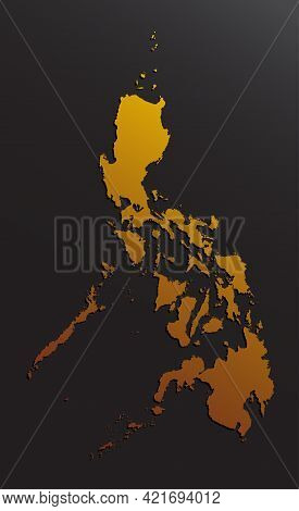 Asia Country Map Philippines, Golden Or Gold Style