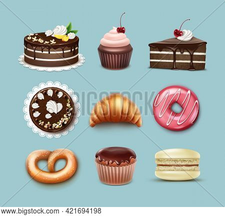 Vector Confectionery Set Chocolate Puff Cake, French Croissant, Pretzel, Cupcake With Whipped Cream