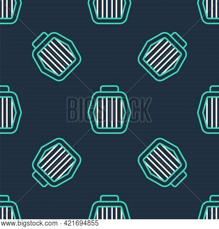 Line Pet Carry Case Icon Isolated Seamless Pattern On Black Background. Carrier For Animals, Dog And