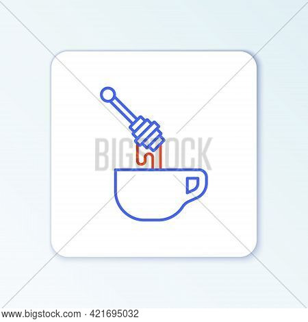 Line Honey Dipper Stick With Dripping Honey Icon Isolated On White Background. Honey Ladle. Colorful