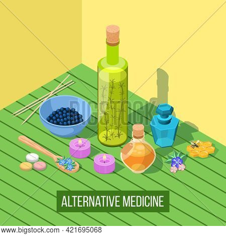 Alternative Medicine Isometric Composition With Elements Of Homeopathy Apitherapy Acupuncture Phytot