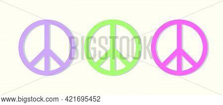 Peace Symbol Trio In Pastel Colors Vector