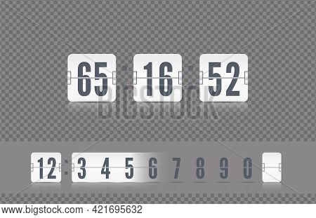 White Scoreboard Number Font. Vector Vintage Flip Clock Time Counter. Analog Airport Board Countdown