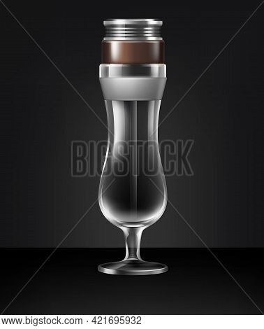 Vector Empty Hurricane Glass Cocktail Hookah Front View Isolated On Dark Background
