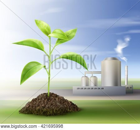 Vector Concept Of Processing Natural Resources For Biofuel