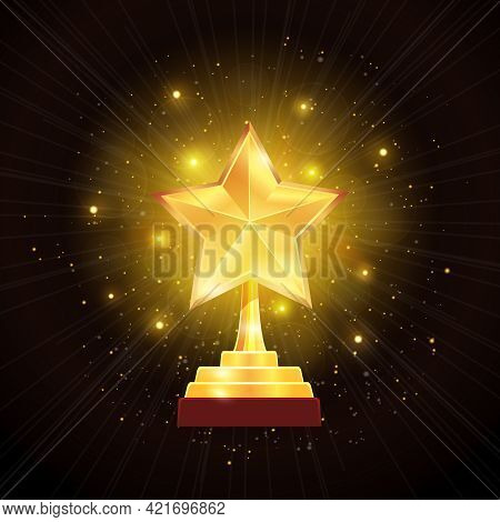 Winner Glowing Gold Star Trophy Award With Hazy Halo Of Lights On Black Background Realistic Vector