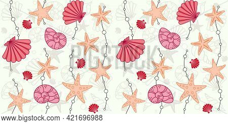 Decorative Seashells, Starfish And Waves With Beads On A Light Beige Background With Cockleshells An