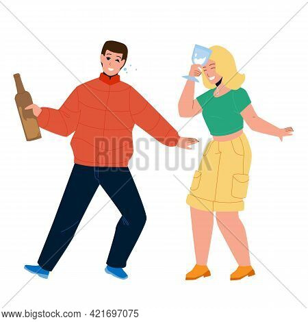 Drunk Man And Woman Couple Drink Together Vector. Drunk Young Boy Holding Bottle With Alcoholic Beve