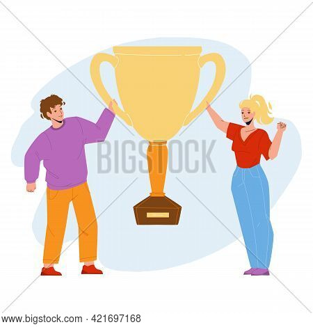 Goal Achievement Celebrate Couple With Cup Vector. Success Goal Achievement Celebrating Man And Woma