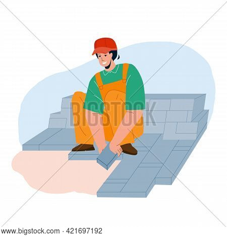 Granite Worker Laying Street Stone Pavers Vector. Granite Worker Man Brick Paving Hardstanding Garde