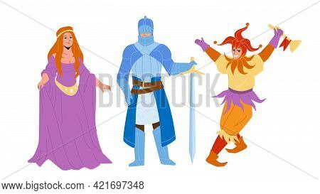 Medieval People Lady, Knight And Jester Vector. Medieval Woman Wearing Attractive Dress, Warrior In