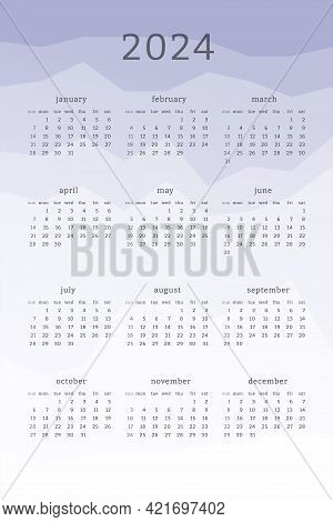 Vertical Lavender Calendar For 2024 Year. Mountains Silhouettes Abstract Gradient Colorful Backgroun