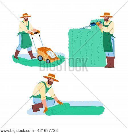 Gardener Man Work In Garden Collection Set Vector. Gardener Pruning Hedge With Secateur, Laying Lawn