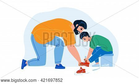 Father With Son Try On Shoes In Kid Store Vector. Man Help Boy Choosing Footwear In Clothes Kid Stor