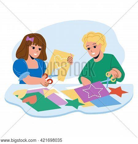 Kids Paper Craft Together In Kindergarten Vector. Little Boy And Girl Kids Paper Craft In Classroom