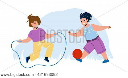 Kids Summer Active Games On Playground Vector. Preteen Boy Playing With Ball And Girl Jumping Rope,