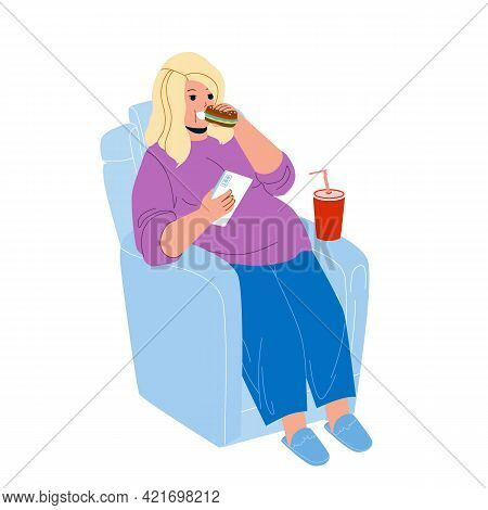 Overweight Girl Eat Fast Food In Armchair Vector. Young Overweight Girl Sitting In Chair Eating Sand