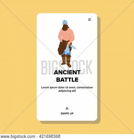 Ancient Battle Muscle Soldier Holding Sword Vector. Bearded Muscular Strong Man Wearing Helmet And A