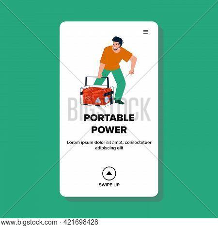 Portable Power Generator Tool Starting Man Vector. Electrical Portable Power Emergency Machine Start