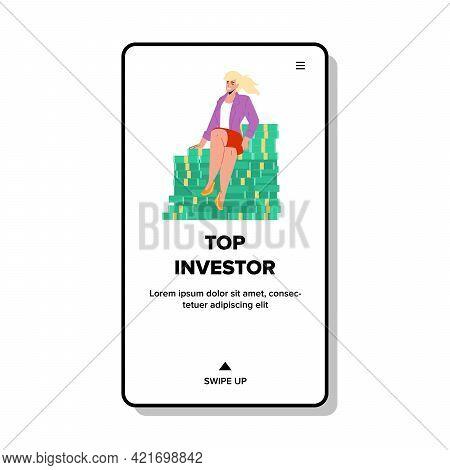 Top Investor Businesswoman Sitting On Money Vector. Top Investor Young Business Woman Relaxing On Do