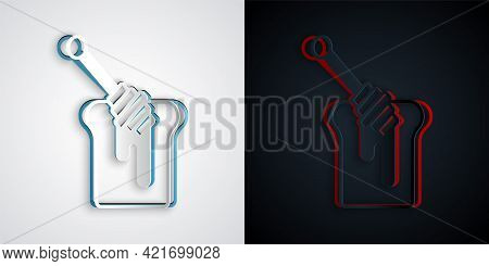 Paper Cut Honey Dipper Stick With Dripping Honey Icon Isolated On Grey And Black Background. Honey L