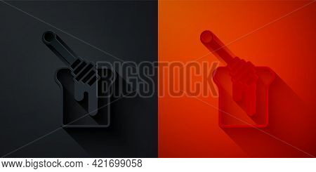 Paper Cut Honey Dipper Stick With Dripping Honey Icon Isolated On Black And Red Background. Honey La