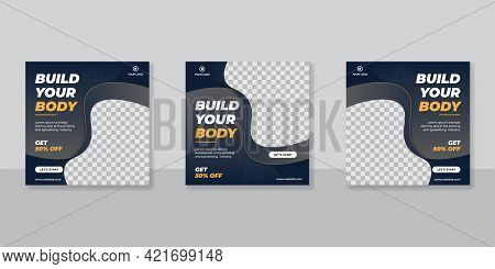 Gym And Fitness Square Banner Template Social Media Post, Web Banner For Business Promotion
