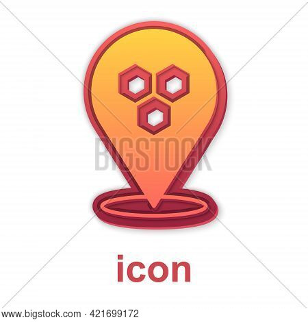 Gold Honeycomb Bee Location Map Pin Pointer Icon Isolated On White Background. Farm Animal Map Point