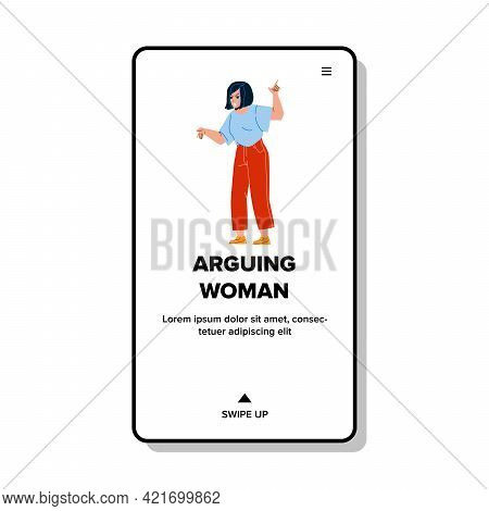 Arguing Angry Woman With Husband At Home Vector. Young Frustration Girl Arguing And Screaming At Chi