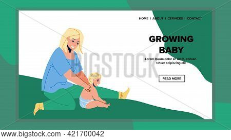 Grow Baby Playing With Mother In Apartment Vector. Woman And Grow Baby Kid Sitting On Floor And Play