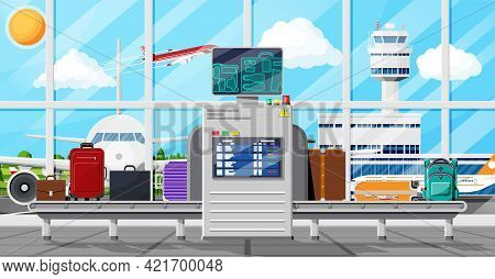 Airport Security Scanner Icon. Conveyor Belt With Passenger Luggage. Baggage Carousel Scan In Airpor
