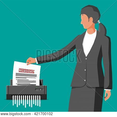 Woman Office Worker Shredding Documents. Shredder Machine And Businesswoman With Confidential Paper.