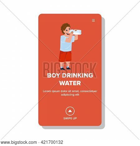 Boy Drinking Water From Bottle In Park Vector. Thirsty Boy Drinking Water From Plastic Packaging On
