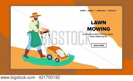 Lawn Mowing Gardener With Mower Device Vector. Garden Worker Man Lawn Mowing With Professional Equip