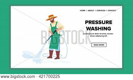 Pressure Washing Backyard Brick With Water Vector. Gardener Pressure Washing Pavement From Wash Equi