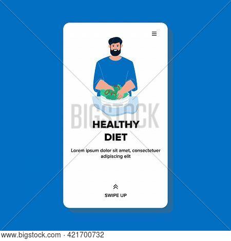 Healthy Diet Salad Preparing Man On Kitchen Vector. Bearded Boy Mixing Healthy Diet Vegetables In Bo