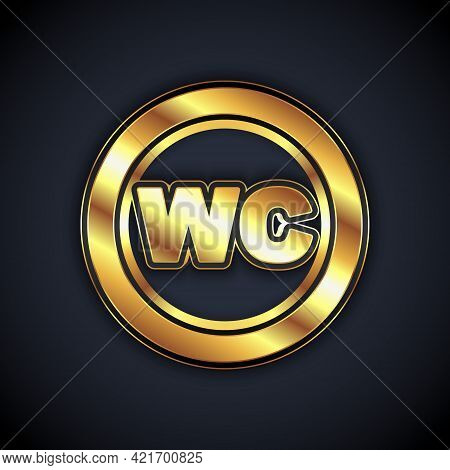 Gold Toilet Icon Isolated On Black Background. Wc Sign. Washroom. Vector