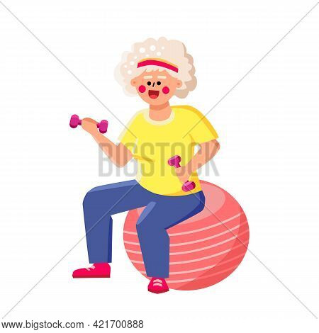 Senior Woman Hold Dumbbells Sit On Fit Ball Vector. Old Lady Holding Sportive Equipment Sitting On F