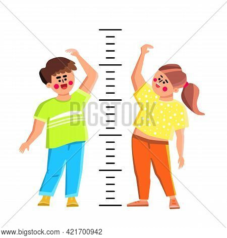 Kids Measuring Height With Measure Scale Vector. Smiling Boy And Girl Children Measuring Growth With