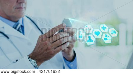 Composition of screen with medical data processing over male doctor using smartphone. global online medicine and technology concept digitally generated image.