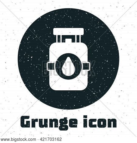 Grunge Propane Gas Tank Icon Isolated On White Background. Flammable Gas Tank Icon. Monochrome Vinta