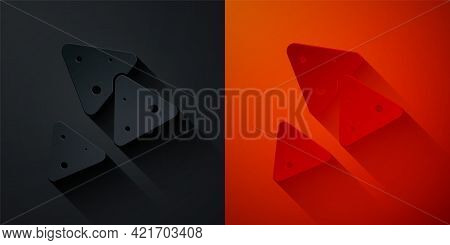 Paper Cut Nachos Icon Isolated On Black And Red Background. Tortilla Chips Or Nachos Tortillas. Trad