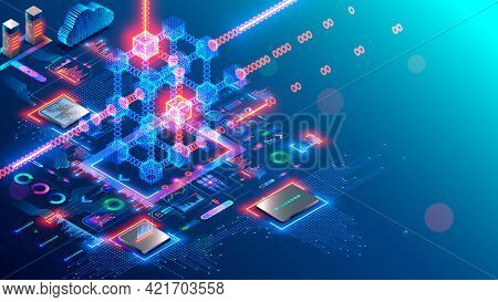 Blockchain And Fintech Of Crypto Currency. Block Chain Technology. Mining Cryptocurrency Isometric C