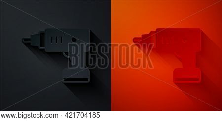 Paper Cut Electric Cordless Screwdriver Icon Isolated On Black And Red Background. Electric Drill Ma