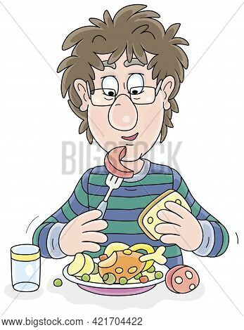 Funny Young Fellow With Disheveled Hair Having Lunch At Table, Vector Cartoon Illustration On A Whit