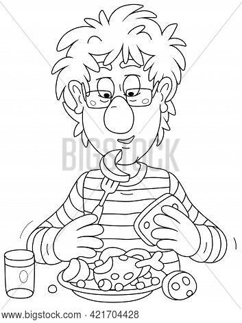 Funny Young Fellow With Disheveled Hair Having Lunch At Table, Black And White Outline Vector Cartoo
