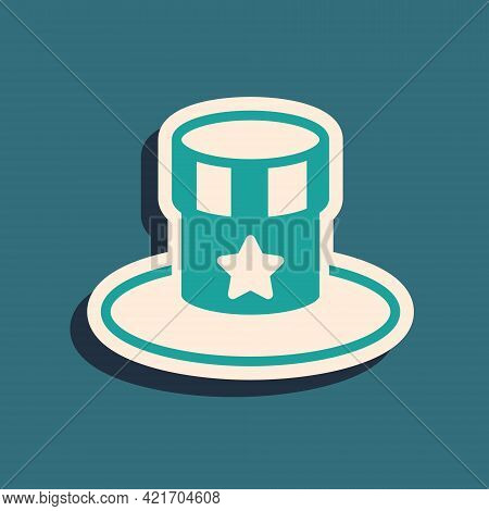 Green Patriotic American Top Hat Icon Isolated On Green Background. Uncle Sam Hat. American Hat Inde