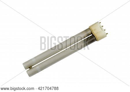 Burnt-out  Fluorescent Lamp On A White Background. An Old Electric Lamp For A Table Lamp.