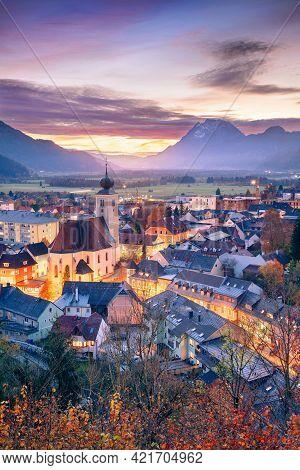 Liezen, Austria. Cityscape Image Of Liezen, Austria At Beautiful Autumn Sunset.